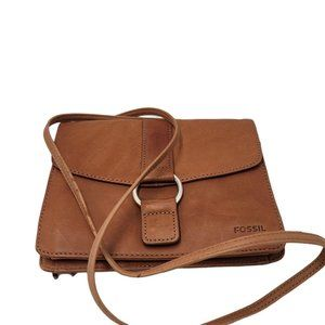 Fossil Brown Leather Purse Vintage Roomy Pockets